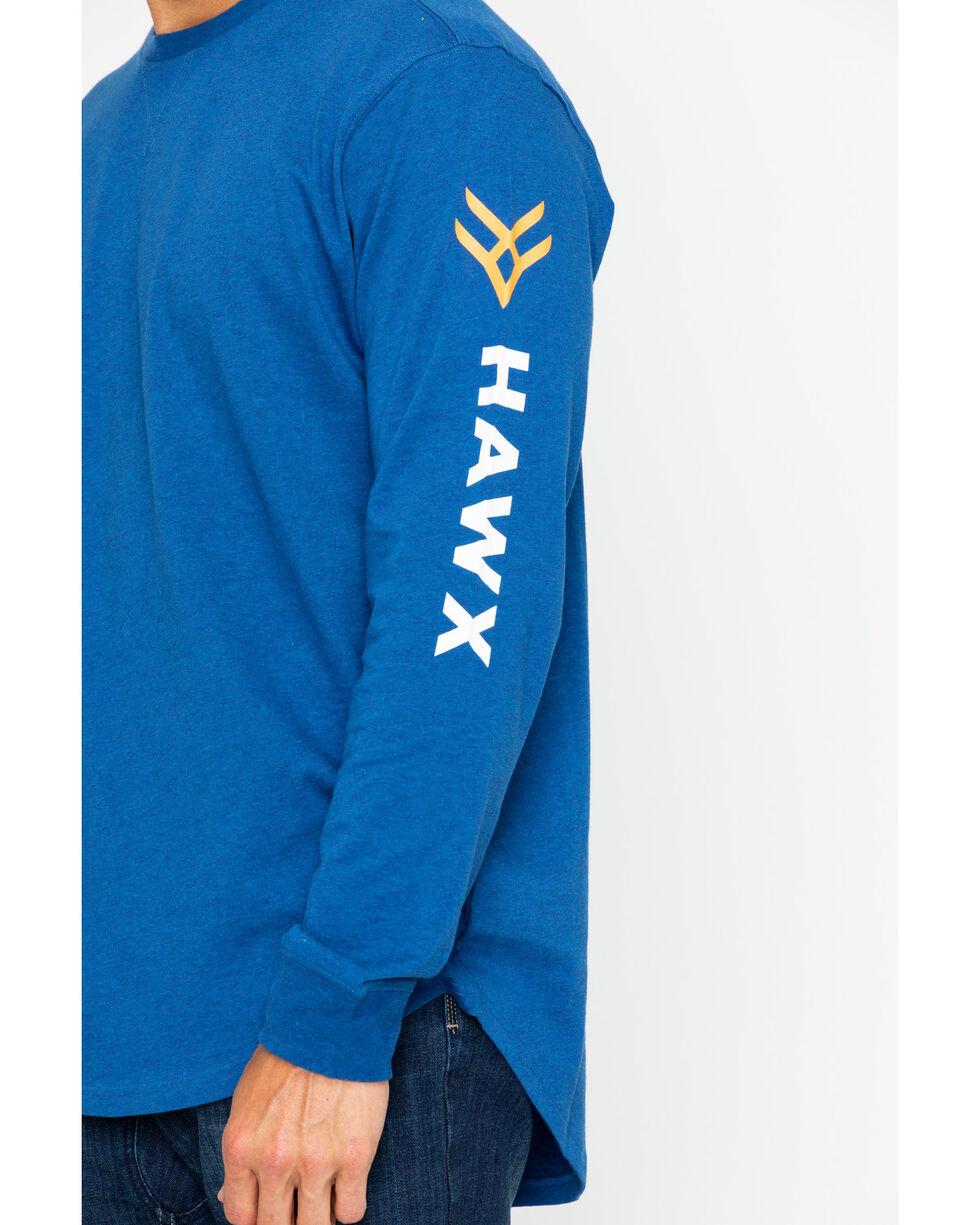 Hawx® Men's Logo Long Sleeve Crew Work Tee , Heather Blue, hi-res