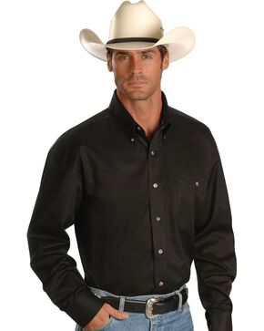 George Strait by Wrangler Men's Long Sleeve Western Shirt, Black, hi-res