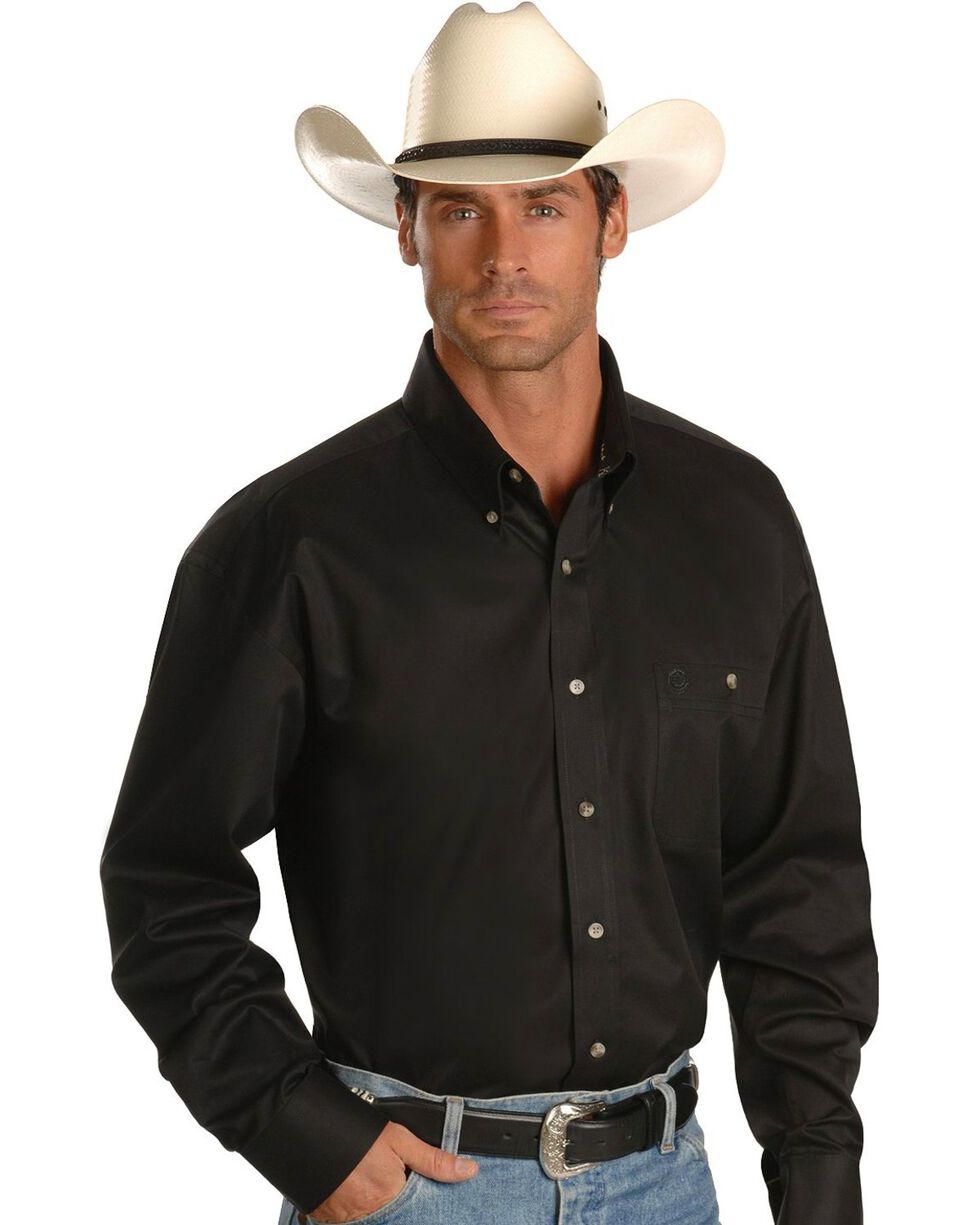 George Strait by Wrangler Men's Long Sleeve Western Shirt, Black, hi-res