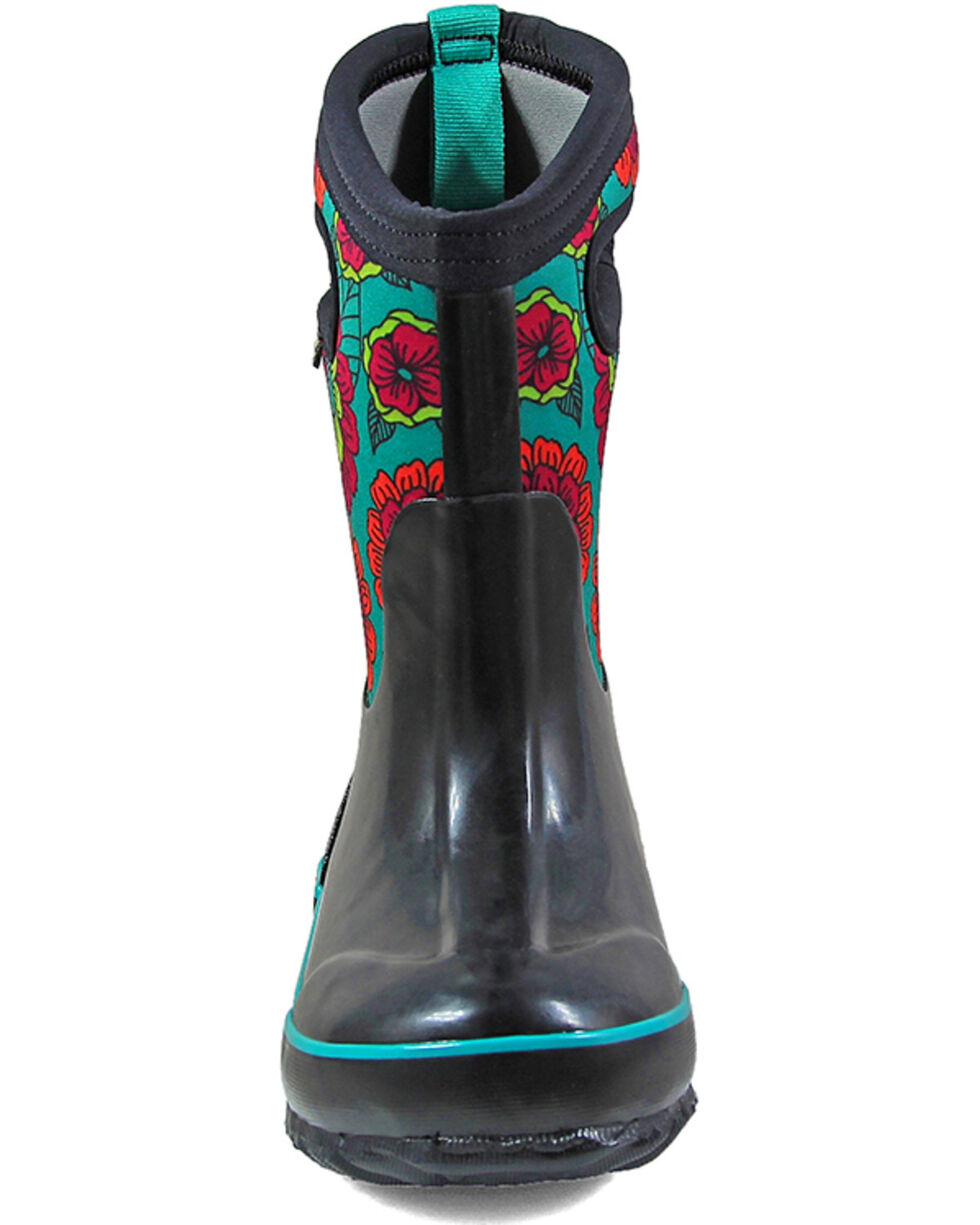 Bogs Girls' Classic Pansies Insulated Boots - Round Toe, Black, hi-res