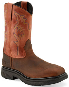 "Old West Men's 11"" Orange Western Work Boots - Steel Toe, Orange, hi-res"