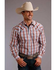 Stetson Men's Desert Dobby Plaid Long Sleeve Western Shirt , Orange, hi-res