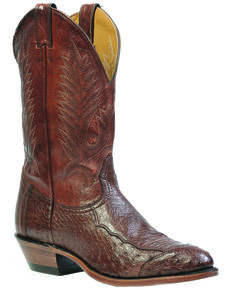 Boulet 4-Piece Smooth Ostrich Boots - Medium Toe, Cigar, hi-res