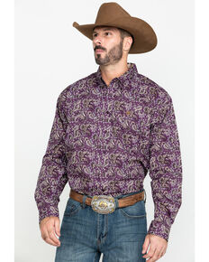 Cinch Men's Purple Paisley Print Long Sleeve Western Shirt - Big , Purple, hi-res