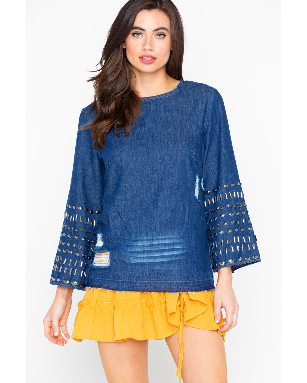 Angel Premium Women's Studded Cassadee Long Sleeve Top, Indigo, hi-res