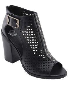 Milwaukee Performance Women's Platform Heel Mesh Top Sandals, Black, hi-res