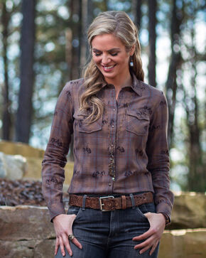 Ryan Michael Women's Ombre Plaid Bucking Horse Long Sleeve Western Shirt , Brown, hi-res