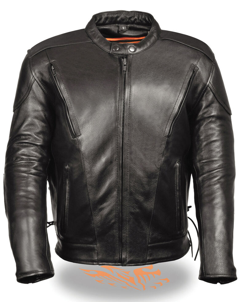 Milwaukee Leather Men's Side Lace Vented Scooter Jacket, Black, hi-res