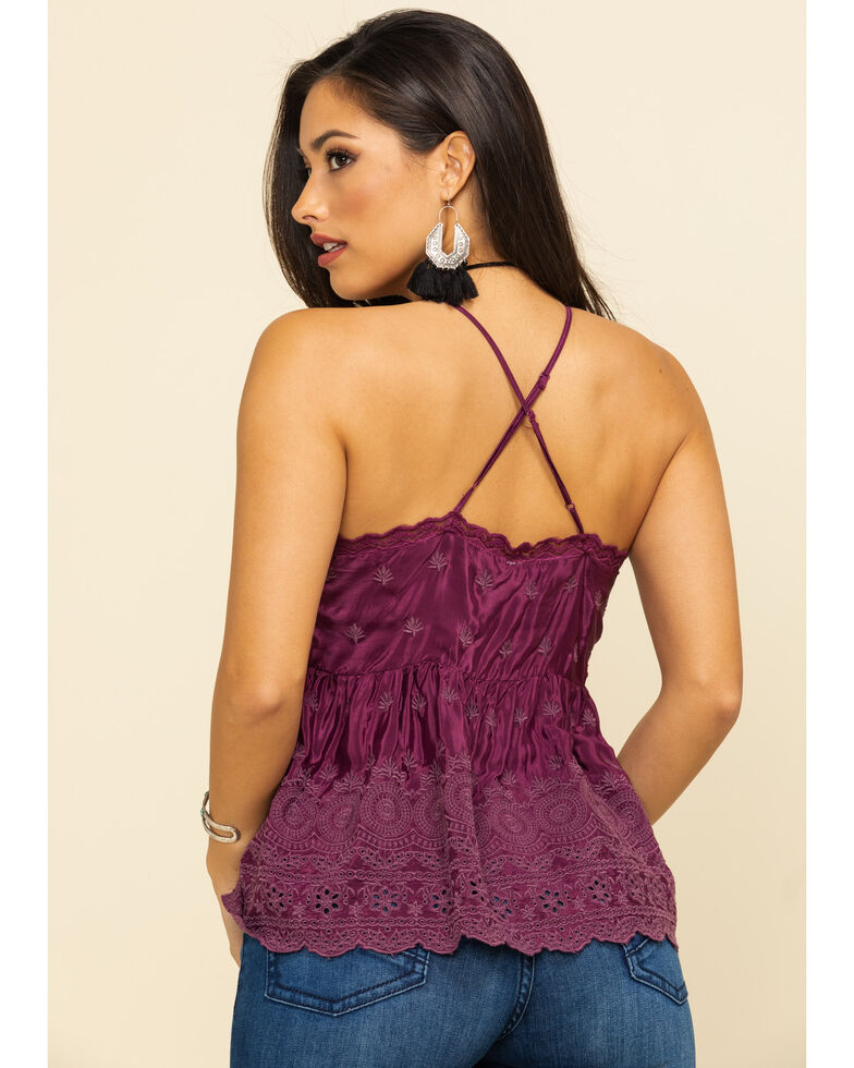 Free People Women's Jenna Embroidered Top, Grape, hi-res