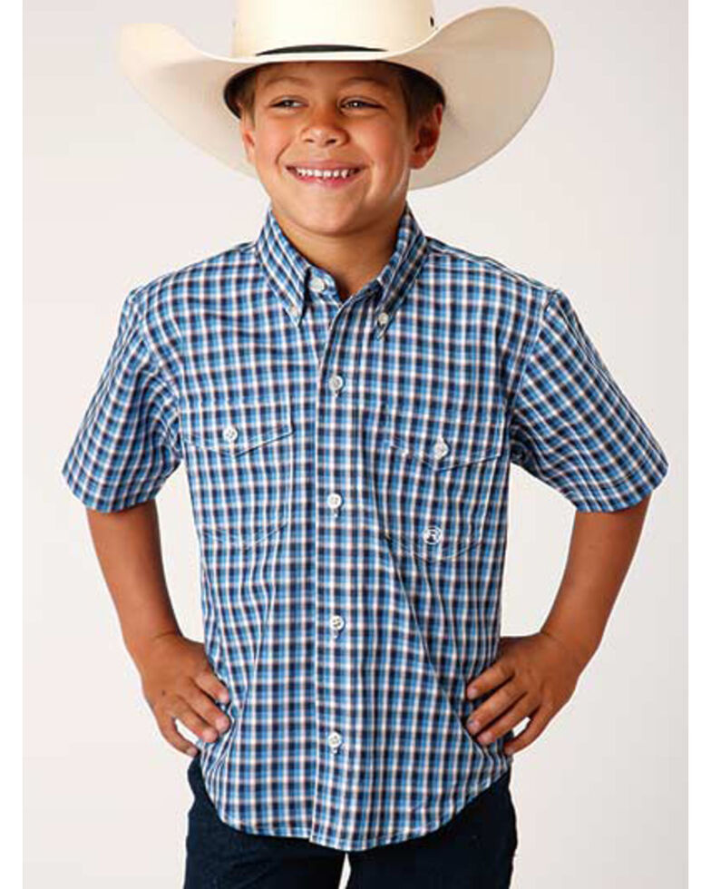 Amarillo Boys' Americana Check Plaid Short Sleeve Western Shirt , Blue, hi-res