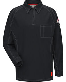 Bulwark Men's Black iQ Series Flame Resistant Long Sleeve Polo, Black, hi-res