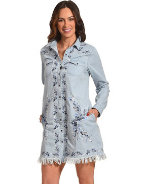 Grace in LA Women's Indigo Embroidered Denim Dress , Indigo, hi-res