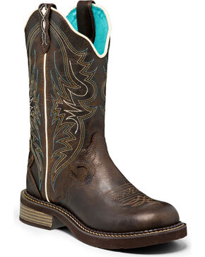 """Justin Women's 12"""" Pull-On Western Boots, Brown, hi-res"""