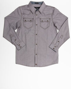 Cody James Boys' Two Step Geo Print Long Sleeve Western Shirt , Brown, hi-res
