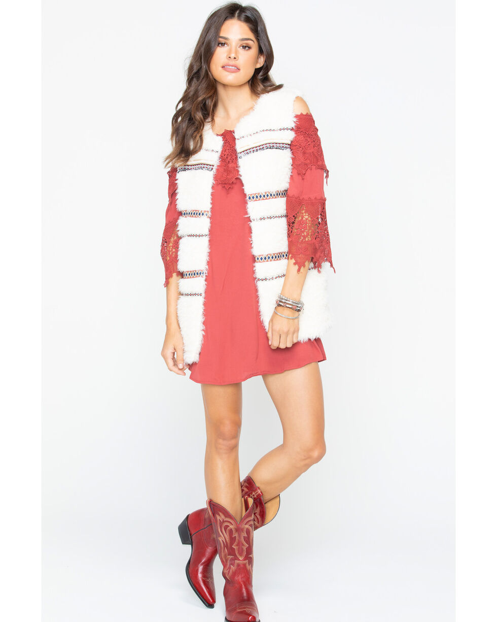 Miss Me Women's Plush Fur Vest , Ivory, hi-res