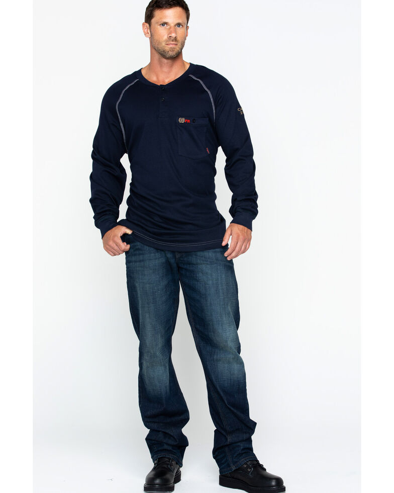 Cinch Men's Flame Resistant Raglan Henley Long Sleeve Work Shirt , Navy, hi-res