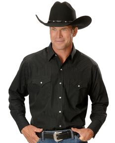 Ely Cattleman Men's Tone On Tone Western Shirt, Black, hi-res