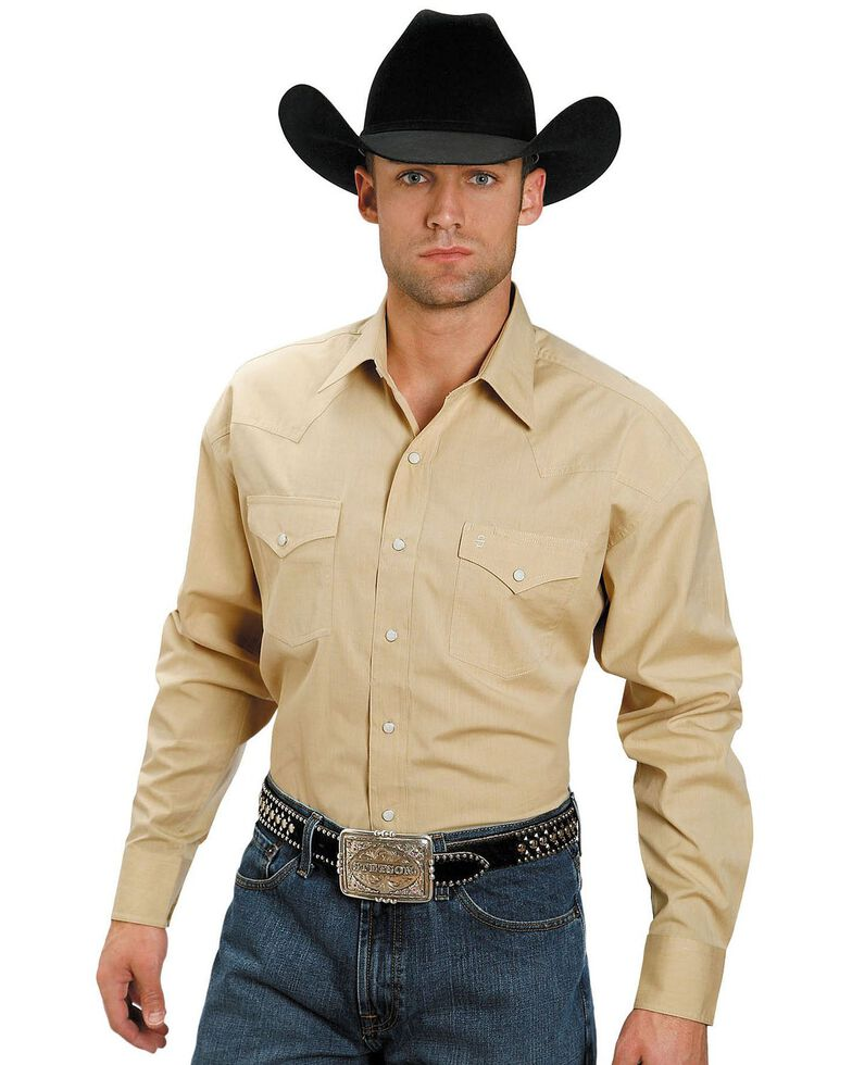 Stetson Men's Solid Snap Oxford Long Sleeve Western Shirt , Yellow, hi-res