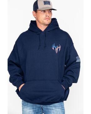 Buck Wear 2X Men's American Flag Pack Graphic Hoodie , Navy, hi-res