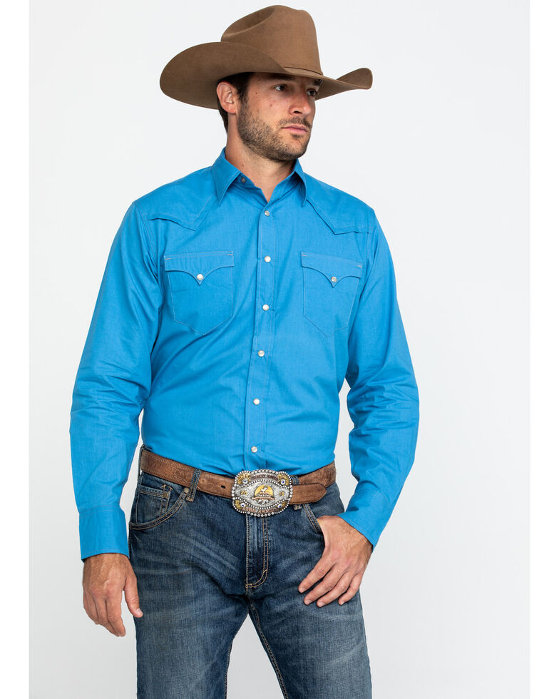 Roper Men's Made West Blue Solid Poplin Long Sleeve Western Shirt , , hi-res