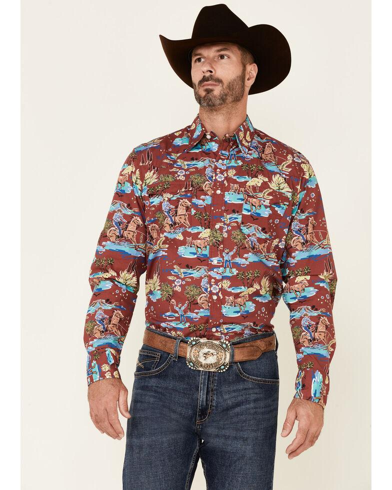 Tin Haul Men's Red Hawaiian Rodeo Print Long Sleeve Snap Western Shirt , Red, hi-res