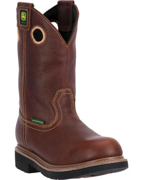 "John Deere Men's 11"" Waterproof Pull-On Western Work Boots, Brown, hi-res"