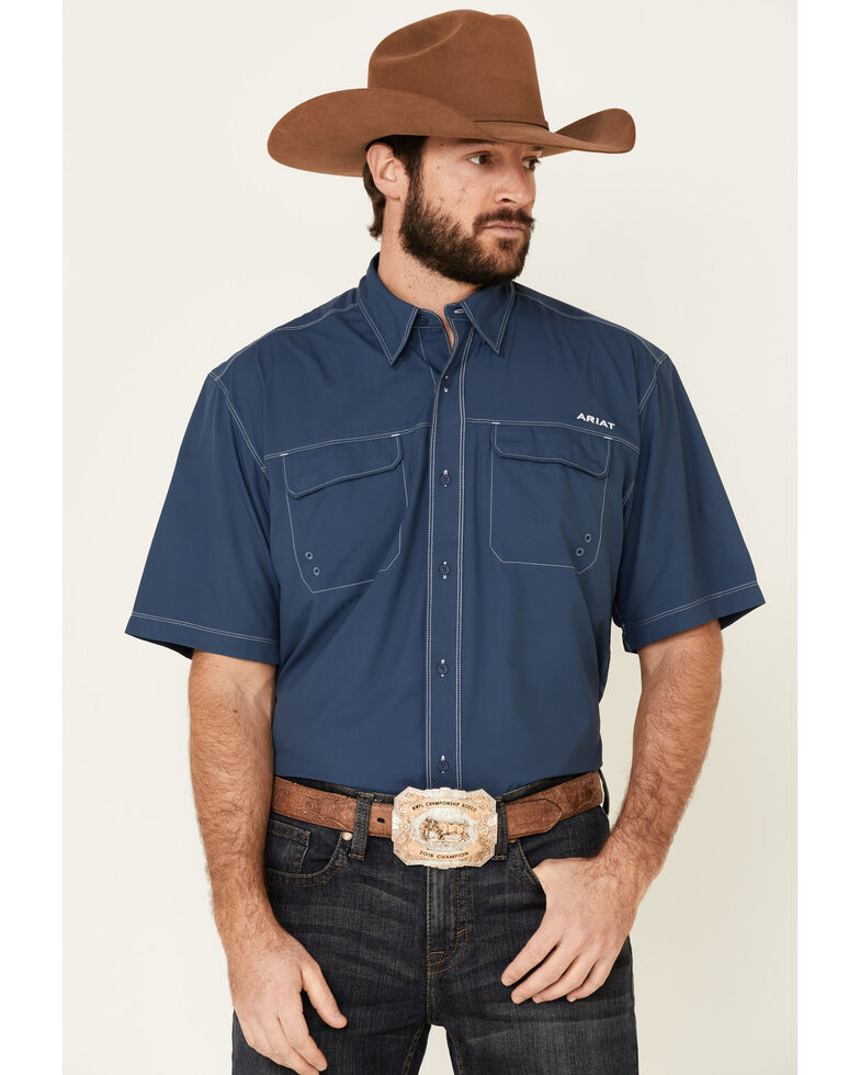 Ariat Men's Blue Vent Tek Outbound Short Sleeve Western Shirt , Blue, hi-res