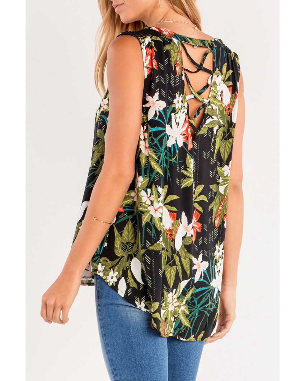 Miss Me Women's Black Floral Printed Henley Top , Black, hi-res