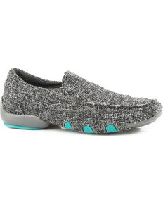 Roper Women's Grey Liza Tweed Fabric Driving Mocs , Grey, hi-res