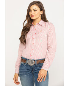 Cinch Women's Coral Stripe Button Long Sleeve Western Shirt, Coral, hi-res