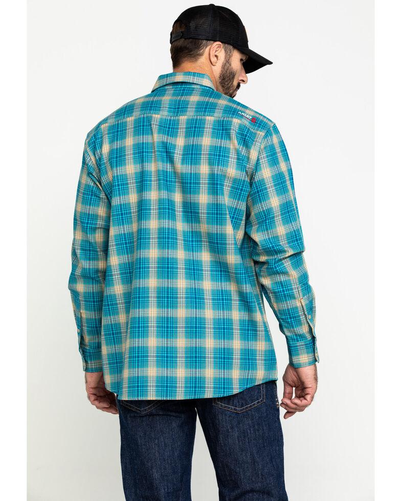 Ariat Men's FR Sanders Plaid Long Sleeve Work Shirt , Green, hi-res