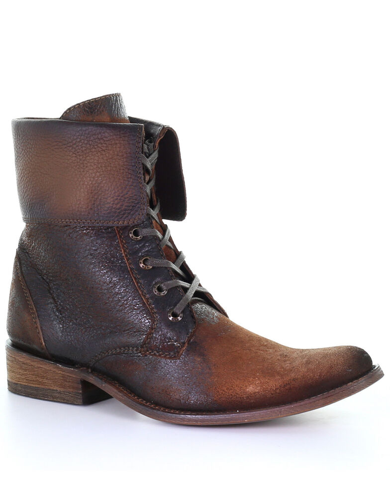 Corral Men's Lace-Up Ankle Boots - Round Toe, Chocolate, hi-res