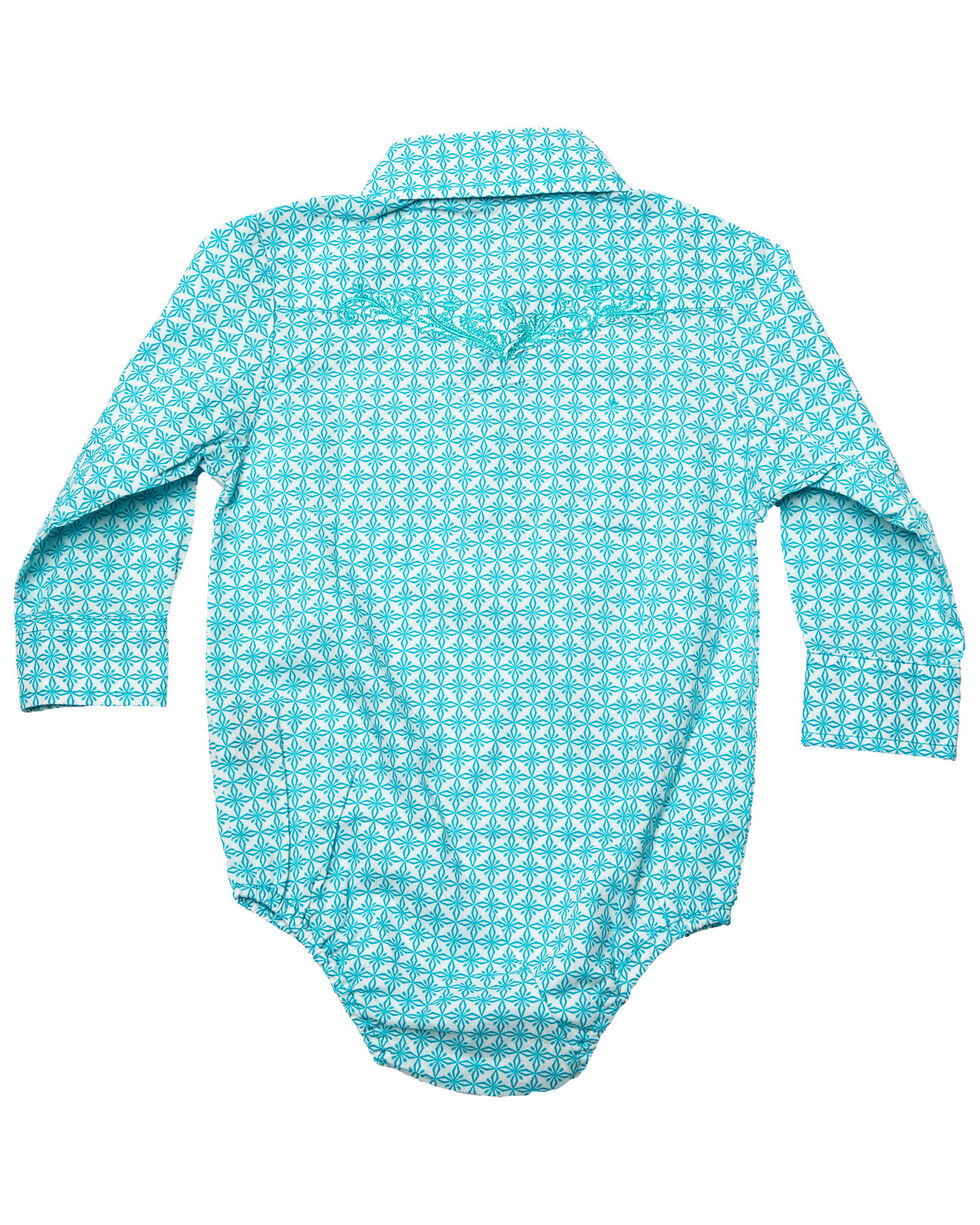 Cowgirl Hardware Infant Girls' Turquoise Snowflake Diamond Print Long Sleeve Western Romper, Turquoise, hi-res