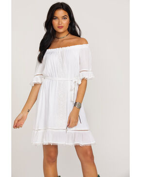 Wrangler Women's Ruffle Peasant Lace Inset Off Shoulder Dress , White, hi-res