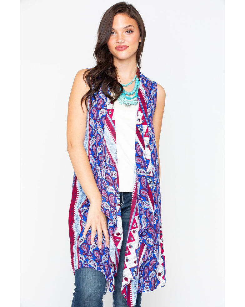 Wrangler Women's Mixed Pattern Sleeveless Duster, Multi, hi-res