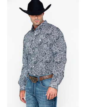 Cinch Men's Paisley Print Long Sleeve Western Shirt , Black, hi-res