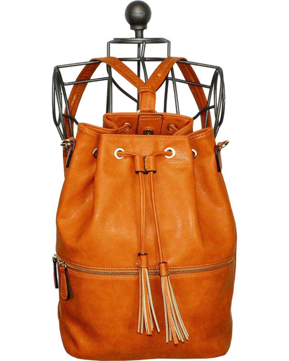 Wear N.E. Wear Brown Tassel Drawstring Backpack, Brown, hi-res