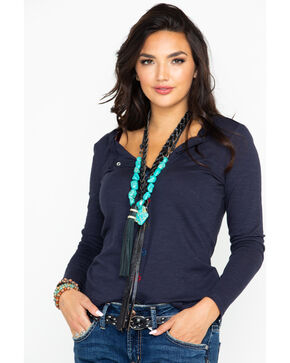 Ariat Women's Henley Slub Button Down Embroidered Long Sleeve Top , Navy, hi-res