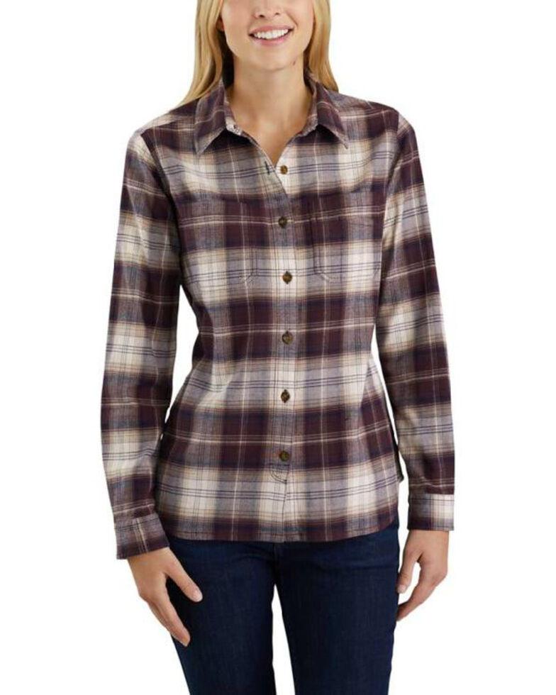 Carhartt Women's Rugged Flex Hamilton Flannel Work Shirt , Wine, hi-res