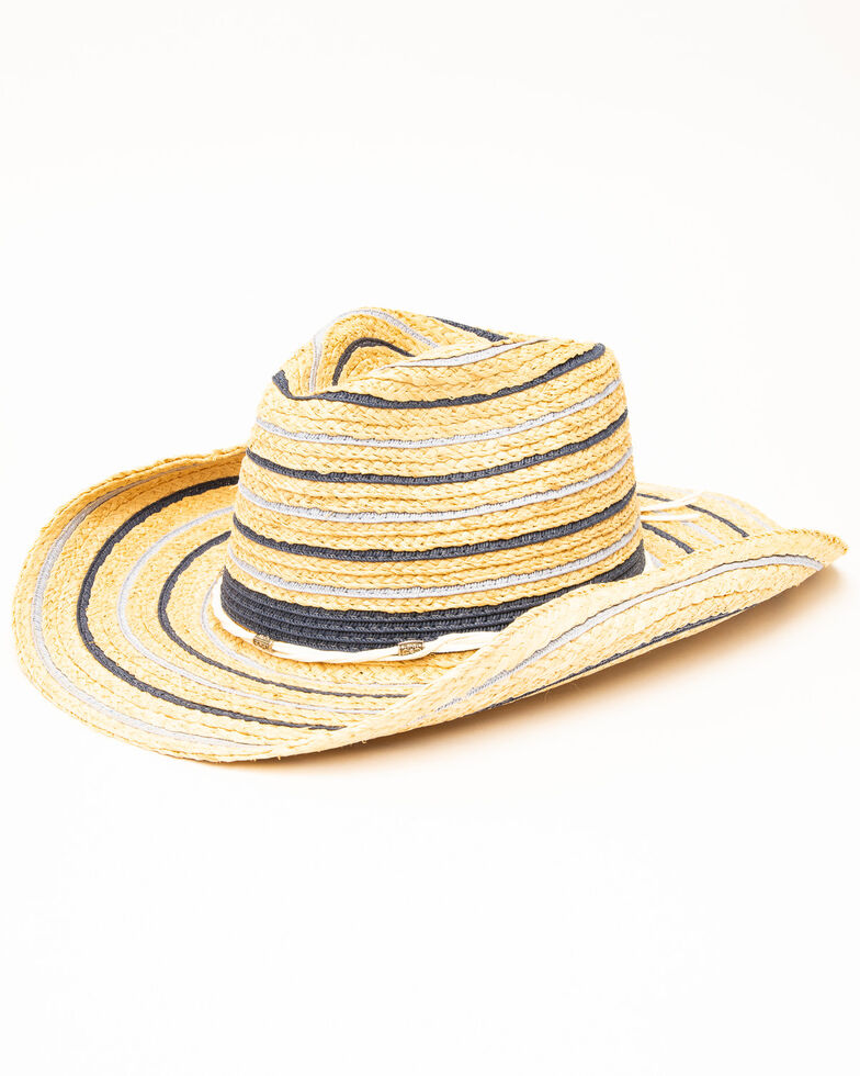 San Diego Hat Co. Women's Blue Fabric Ringed Straw Hat, Natural, hi-res
