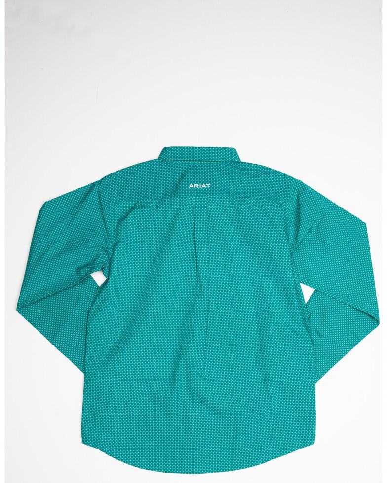 Ariat Boys' Rivers Geo Print Long Sleeve Western Shirt , Turquoise, hi-res