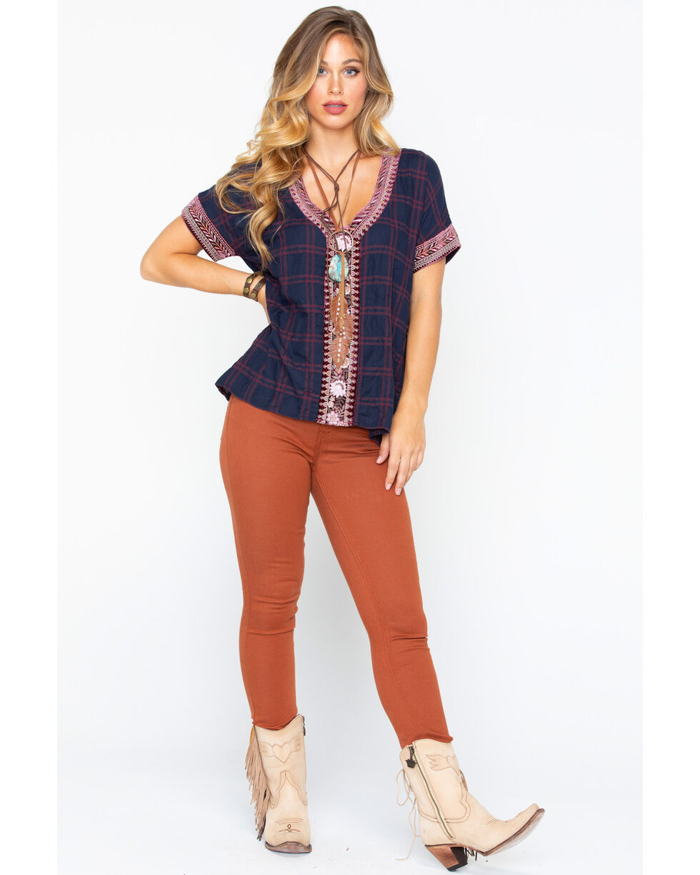 Johnny Was Women's Cosette Velvet Embroidered Short Sleeve Top , Multi, hi-res