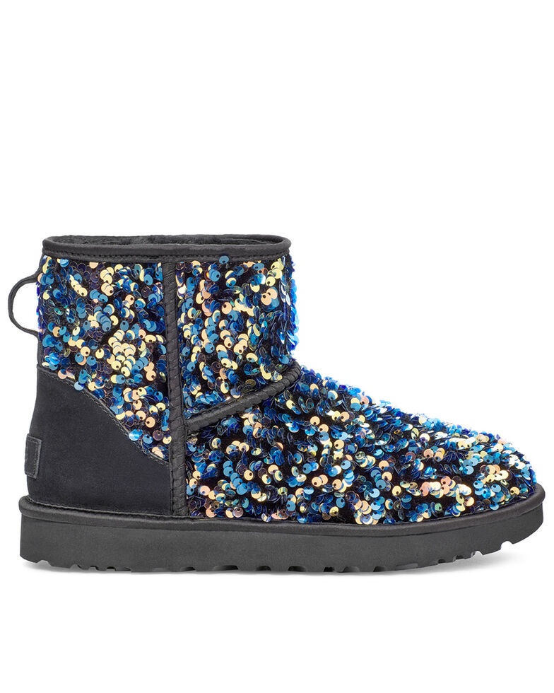 UGG Women's Classic Mini Stellar Sequin Boots, Black, hi-res