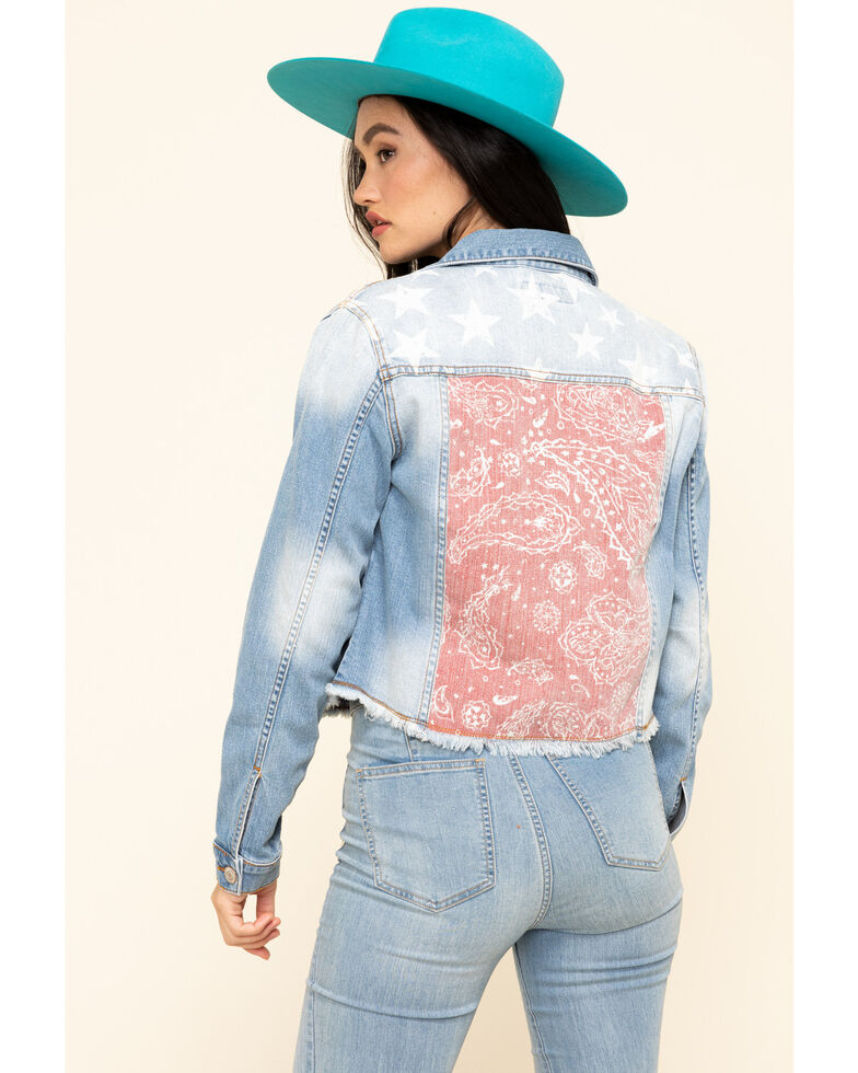 Shyanne Women's Cropped Paisley Americana Denim Trucker Jacket , Blue, hi-res
