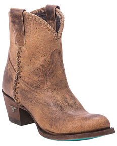 Lane Women's Plain Jane Distressed Brown Booties - Round Toe, Brown, hi-res