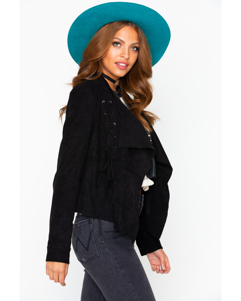 Miss Me Women's Faux Suede Jacket, Black, hi-res
