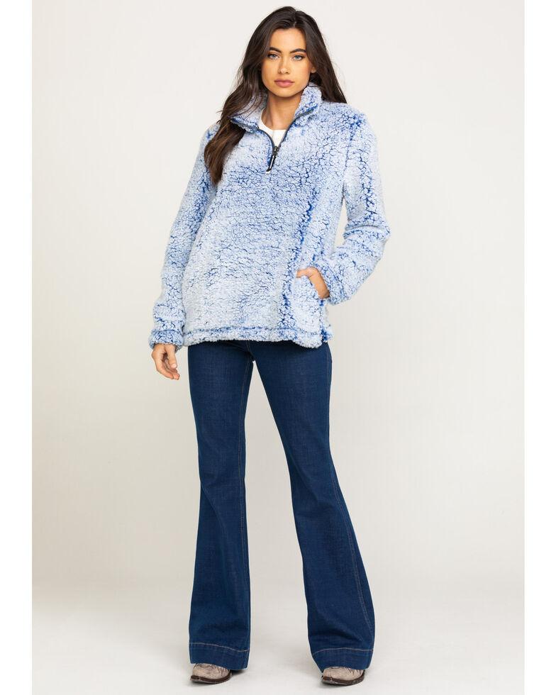 Roper Women's Blue Fuzzy Pullover , Blue, hi-res