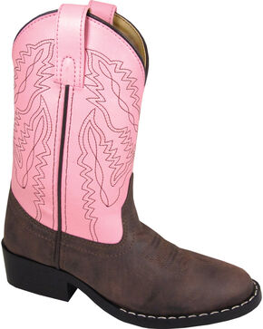 Smoky Mountain Toddler Girls' Monterey Western Boots - Round Toe, Brown, hi-res