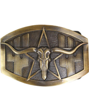 Cody James® Long Horn Bronze Belt Buckle, Multi, hi-res