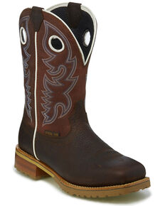 Justin Men's Marshal Western Work Boots - Steel Toe, Brown, hi-res